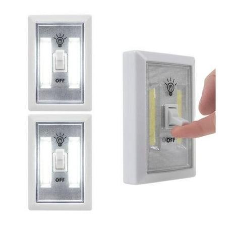 2 Cob Lights Switch Led Night Lamp Wireless Closet Wall Battery Operated