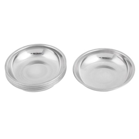 8pcs 10cm Dia Stainless Steel Soy Sauce Container Dish Bowl Silver Plate (Silver Plated Revere Bowl)