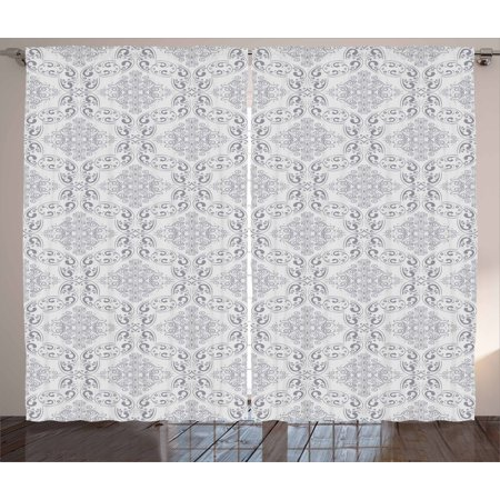 - Grey Curtains 2 Panels Set, Victorian Antique Tile Pattern with Royal Curlicues Old Rich Scroll Regency Motifs, Window Drapes for Living Room Bedroom, 108W X 96L Inches, Grey Pale Grey, by Ambesonne