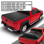 For 2009 to 2018 Ram Truck 1500 / 2500 / 350 6.5' Bed Fleetside Tri -Fold Adjustable Soft Top Trunk Tonneau Cover 10 11 12 13 14 15 16 17