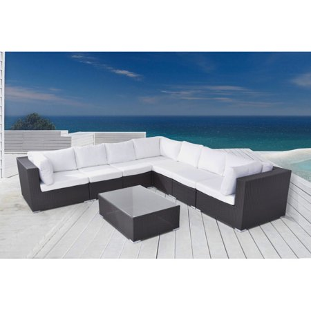 Wicker Deep Seating Patio Furniture.Velago Riva Wicker 9 Piece Sectional Deep Seating Patio Conversation Set