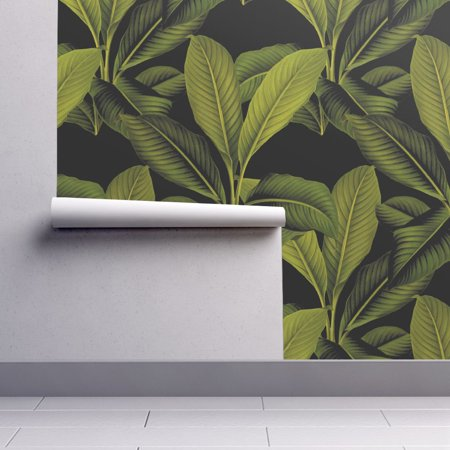 Removable Leaf - Removable Water-Activated Wallpaper Palm Leaf Tropical Banana Leaf Palm Palm