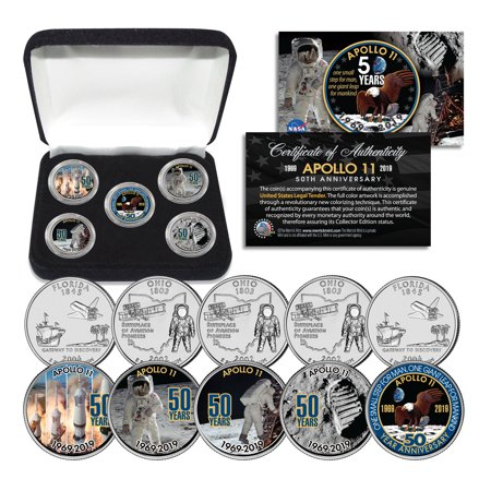 APOLLO 11 50th Anniversary Man on Moon Statehood Quarters 5-Coin Set with Box Olympic Coin Sets
