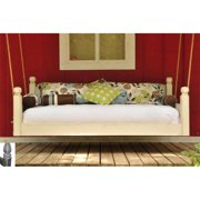 Swing Beds Online ORG-FULL-CYP-BLK-CATH-DSTD 84 in. Black Cathedral Post Tops Distressed Original Swingbed