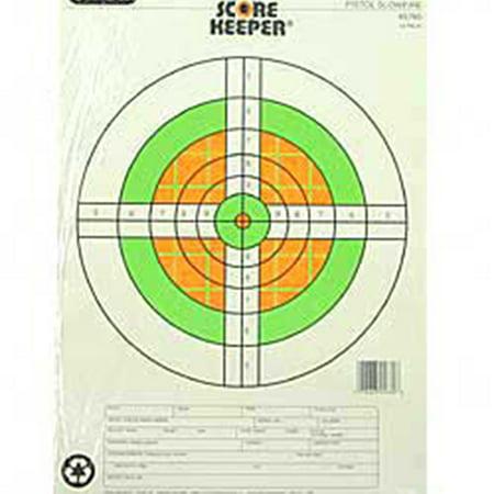 Champion Traps and Targets Fluorescent Orange/Green Bullseye Scorekeeper Target, 25 Yard Pistol Slow Fire, 12pk