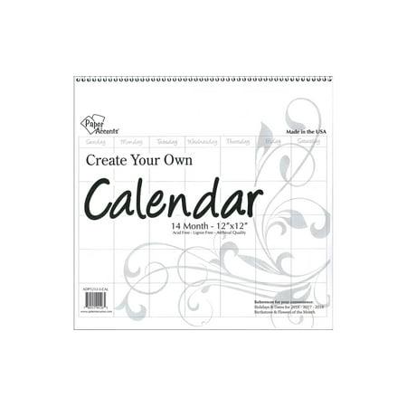 CYO Calendar 12x12 14 Month Blank White