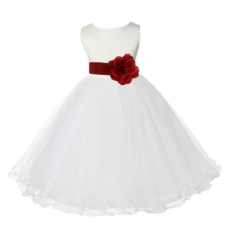 Ekidsbridal Wedding Pageant Ivory Flower Girl Dress Tulle Rattail Edge Toddler Junior Bridesmaid Recital Easter Dress Holiday Communion Birthday Girls Clothing Baptism Graduation Apple Red 829S 12](Girls Dresses 12)