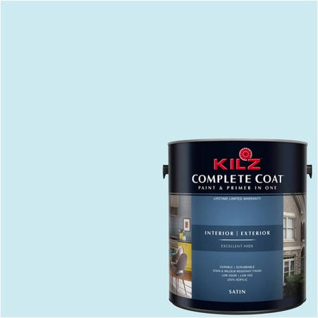 KILZ COMPLETE COAT Interior/Exterior Paint & Primer in One #RF200-01 Snow Line, 1 gal, Flat