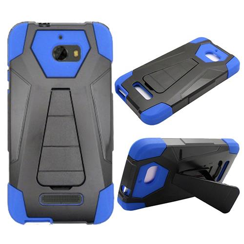 Phone Case for Coolpad Defiant (T-Mobile) , Hybrid Cover Case with Kickstand + Tempered Glass Screen Protector (Blue)