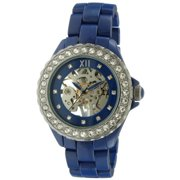 Womens Blue Ceramic Mechanical Skeleton Watch Hand Wind Up Blue Dial Crystal Bezel