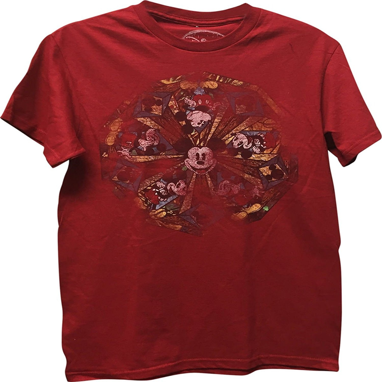 Mickey Mouse Circle Men's T-Shirt Red Small