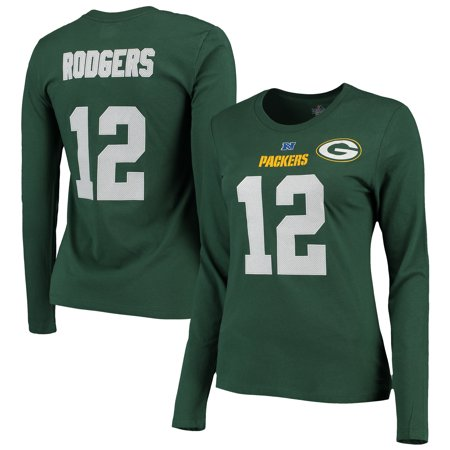 3fcf1749 Aaron Rodgers Green Bay Packers Majestic Womens Fair Catch V Name and  Number Long Sleeve T-Shirt - Green - Walmart.com