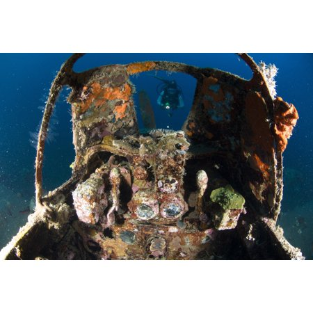 Cockpit of a Mitsubishi Zero fighter plane wreck underwater Kimbe Bay Papua New Guinea Poster (Zero Fighter Plane)