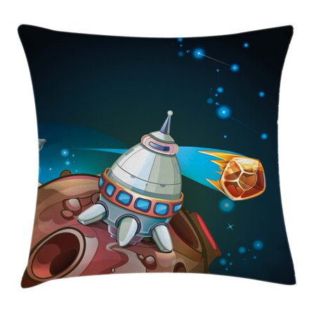 Rocker Theme (Cartoon Throw Pillow Cushion Cover, Spacecraft Planets Outer Space Theme Cute Rocket Stars Galaxy Cosmic Illustration, Decorative Square Accent Pillow Case, 24 X 24 Inches, Multicolor, by)