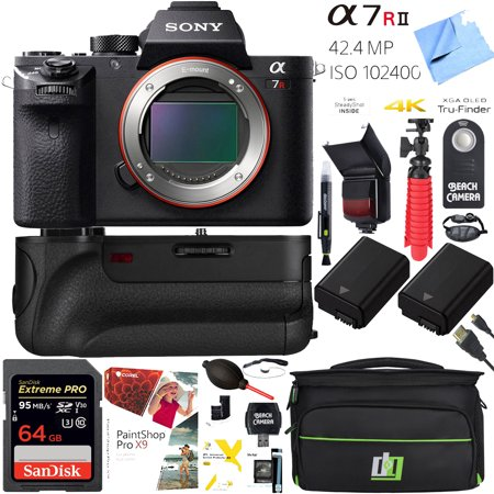 Sony a7R II 42.4MP Full-frame Mirrorless Interchangeable Lens Alpha a7RII Camera 64GB Battery Grip Dual Battery Pro Video (Best Interchangeable Lens Camera)