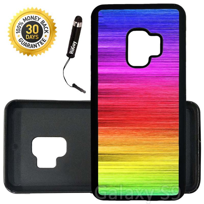 Custom Galaxy S9 Case (Rainbow Shimmering Lines) Edge-to-Edge Rubber Black Cover Ultra Slim | Lightweight | Includes Stylus Pen by Innosub