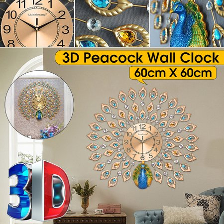 21inch 3D Large Metal Peacock Luxury Diamond Decorative Art Quartz Analog Clock with Rhinestones Wall Decor Living Room Bedroom Decor, Metal Wall Clock, Wall Clock Decor Large