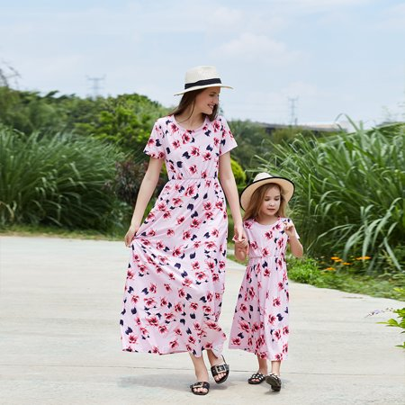 Mommy and Me Family Matching Dresses Casual Short sleeve Floral Midi Dress Womens Girls Beach Dresses