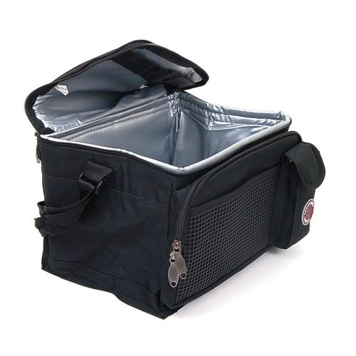 New Deluxe Lunch Bag Cooler Box Insulated Large Multiple Pockets Shoulder Strap Black One Size