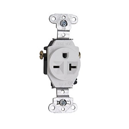 20a Single Receptacle (Pass and Seymour 5851-W White Spec Grade Single Receptacle Outlet 20A 250V )