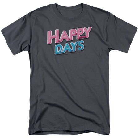 happy days/happy days logo s/s adult 18/1   charcoal     cbs110](Happy Halloween Logo Black And White)