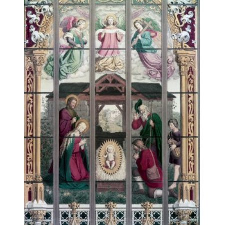 Century Stained Glass - The Birth of Jesus stained glass 19th Century Poster Print