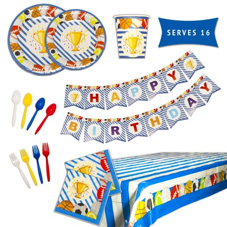 Sports Champ Party Pack Sports Theme Birthay Decorations For Kids 114 Piece Set Serves 16