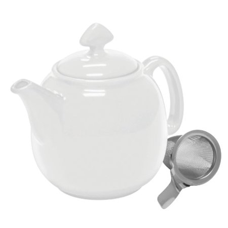 Chantal Enamel Pot - Chantal Tea for 4 Teapot with Stainless Steel Infuser, 1-1/2-Quart, White