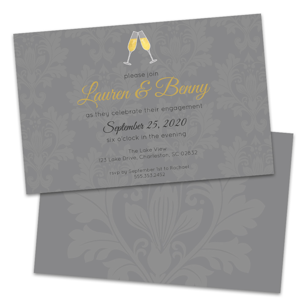 Personalized Champagne Damask Engagement Party Invitations