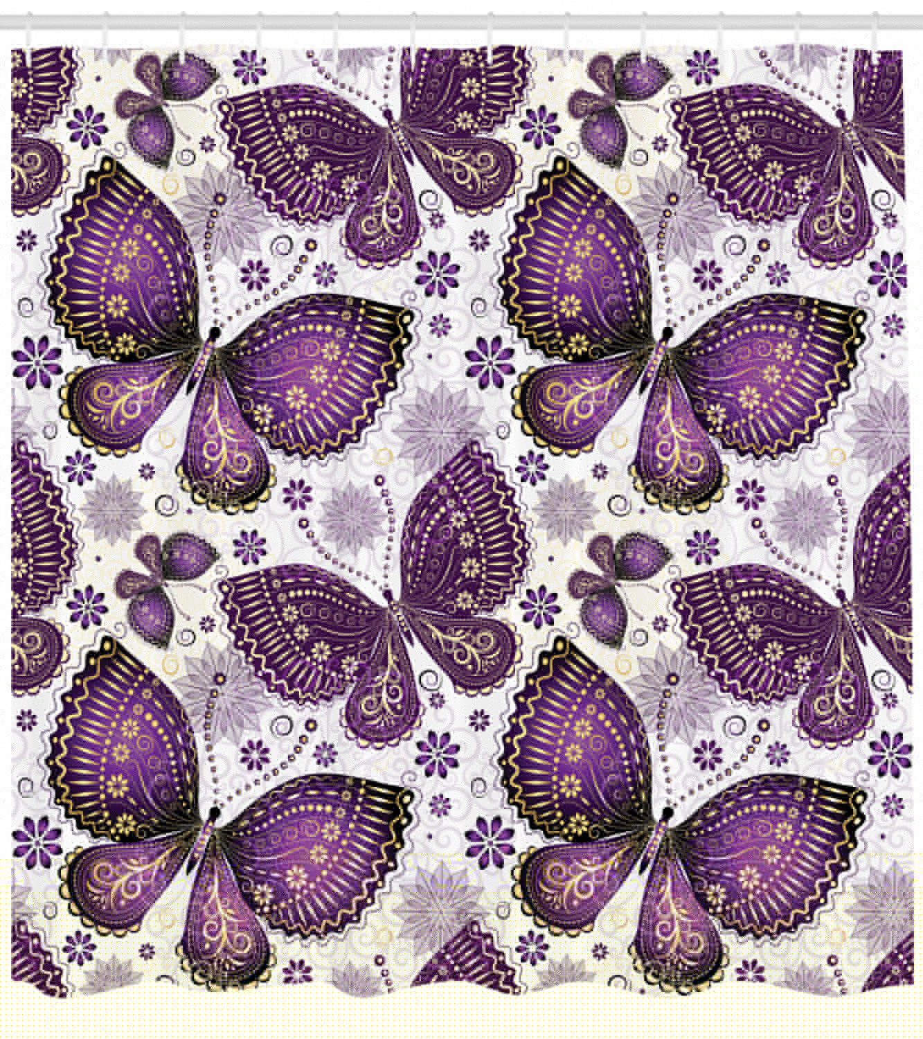 Natural Shower Curtain Ethnic Asian Butterflies With Paisley Motif On Wings Flowers Art Print Fabric Bathroom Set With Hooks Plum Purple Lilac