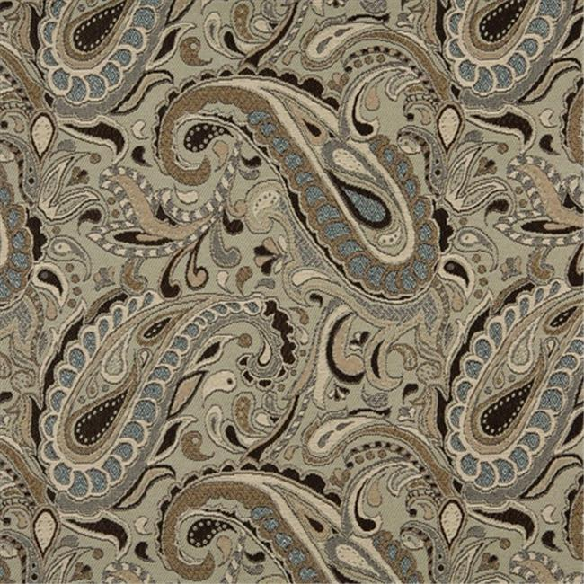Designer Fabrics K0110A 54 inch Wide Brown, Beige, Light Blue And Tan Paisley Woven Solution Dyed Indoor & Outdoor