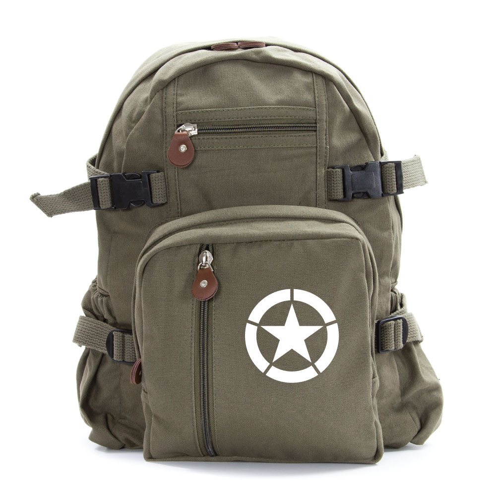 Army Force Gear WWII Military Invasion Star Backpack Vintage Style School Bag