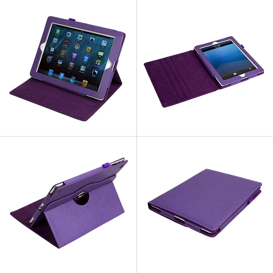 Bundle Monster Rotating Landscape View Protection Case for Apple Ipad 4 Tablet