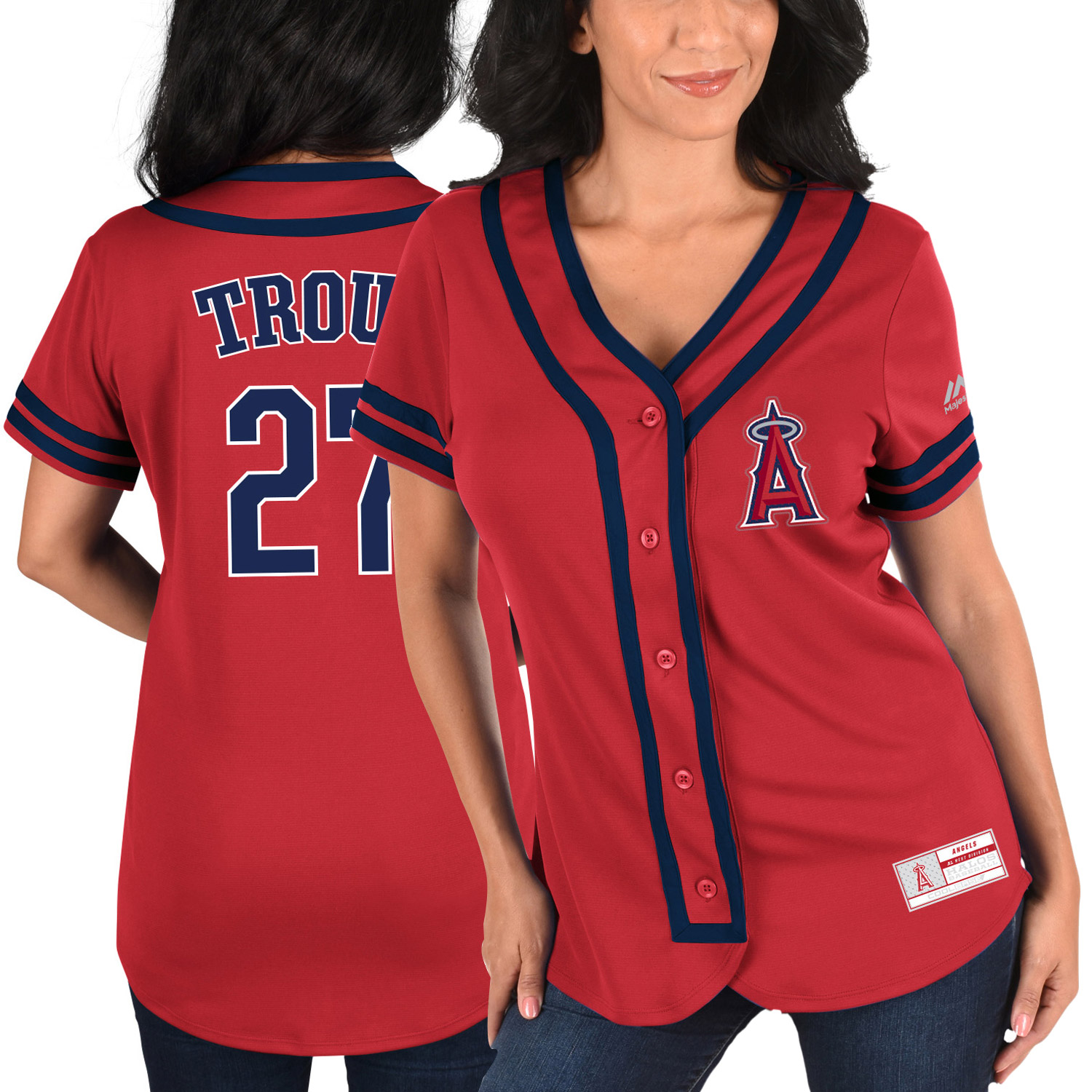 Mike Trout Los Angeles Angels Majestic Women's Absolute Victory Fashion Player Jersey - Red/Navy