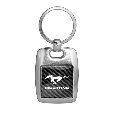 Ford Mustang in Full Color with Carbon Fiber Backing Brush Silver Metal Key Chain