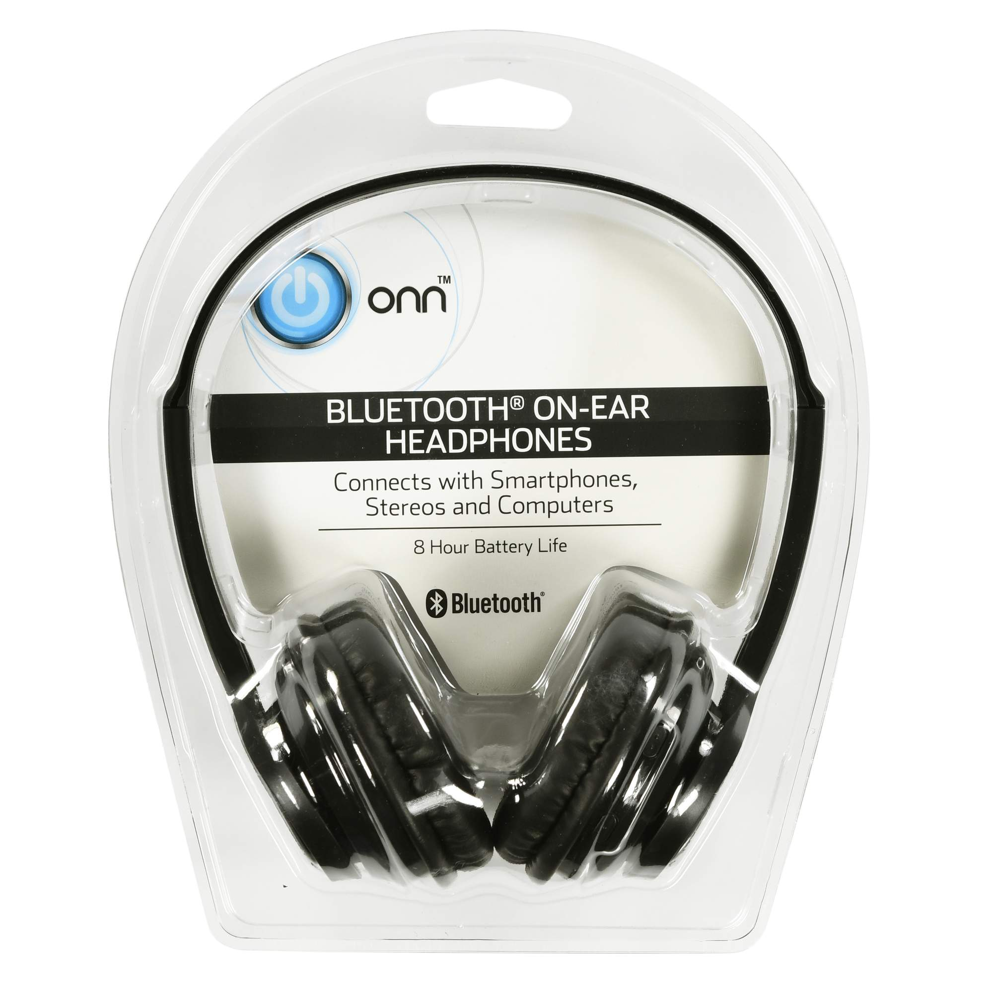 Onn by Walmart Bluetooth On-ear Headphones, Black