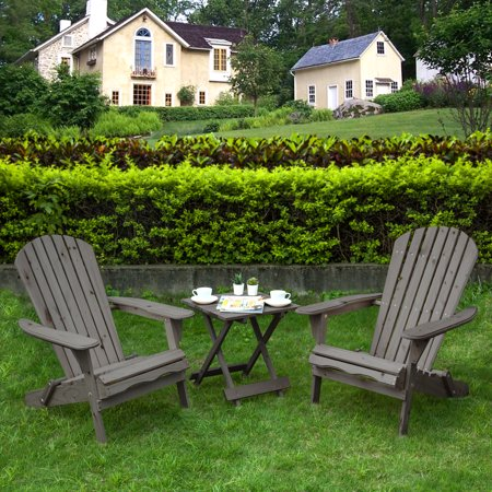 Villaret Adirondack Chair Set with Table in Grey
