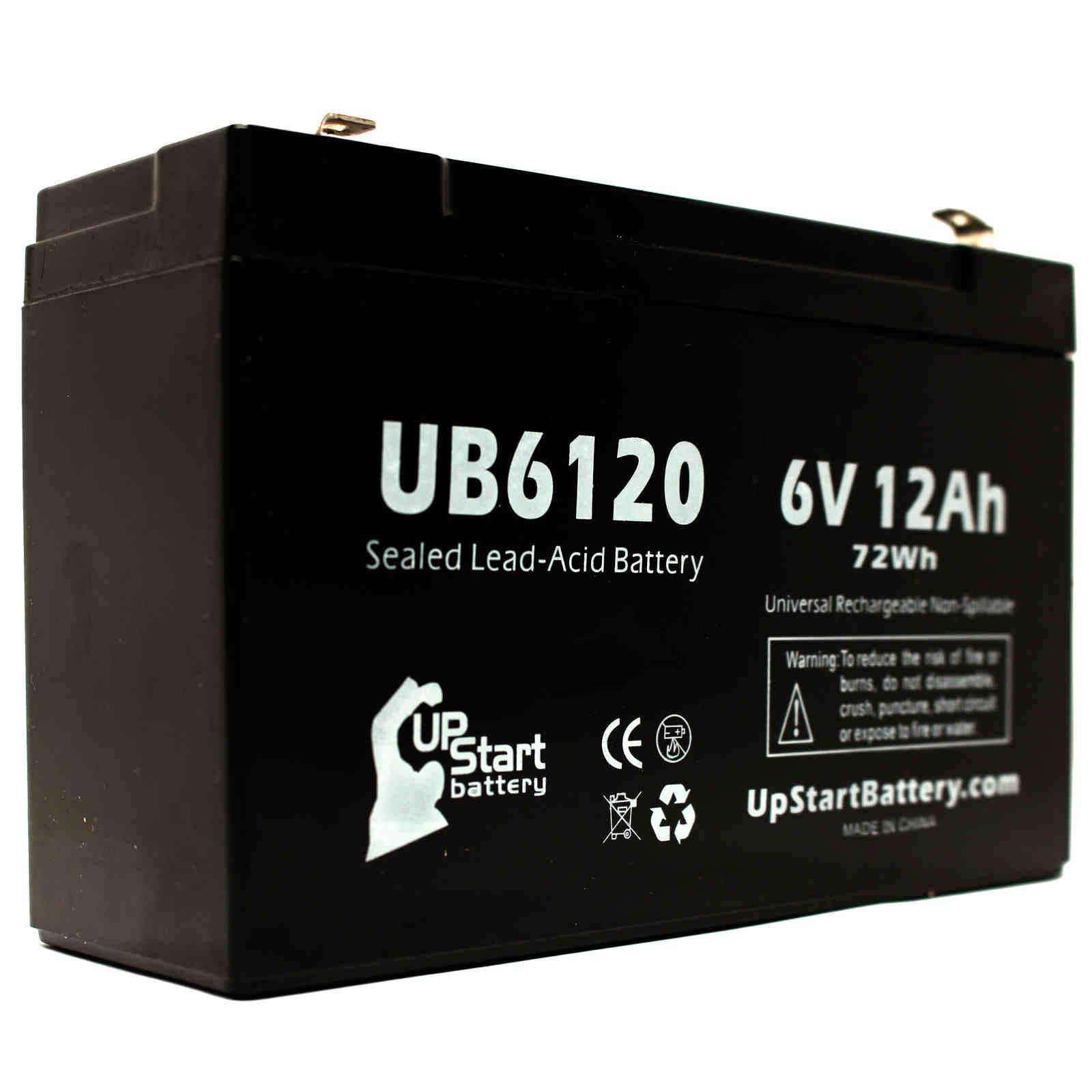 5x Pack - ACCESS BATTERY SLA6100 Battery Replacement - UB6120 Universal Sealed Lead Acid Battery (6V, 12Ah, 12000mAh, F1 Terminal, AGM, SLA) - Includes 10 F1 to F2 Terminal Adapters - image 2 de 4