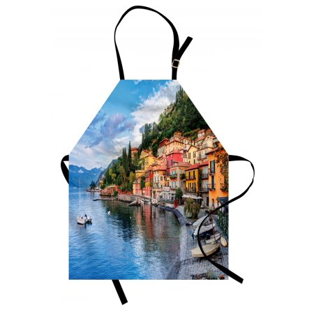 Italian Apron Summer Village by the Mediterranean Sea with Yacht Boats Idyllic Town Panorama, Unisex Kitchen Bib Apron with Adjustable Neck for Cooking Baking Gardening, Multicolor, by Ambesonne