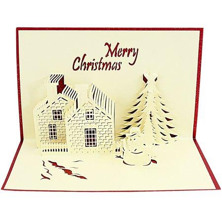 DL furniture - Pop Up Greeting Card - Merry Christmas Castle Gift Tree 3D Paper Greeting Thank You Card Handmade Envelope for kids men women | Christmas Eve Halloween Thanksgiving - No Thanks Gif Halloween