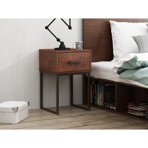 Mainstays Metal and Wood Nightstand with 1-Drawer in Reclaimed Cherry Finish by HOMESTAR NORTH AMERICA LLC