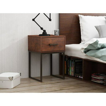 Mainstays Metal and Wood Nightstand with 1-Drawer in Reclaimed Cherry Finish ()