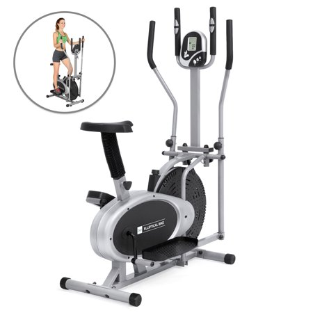 Elliptical Aluminum Steps - Best Choice Products Elliptical Bike 2-in-1 Cross Trainer Exercise Fitness Machine Upgraded Model