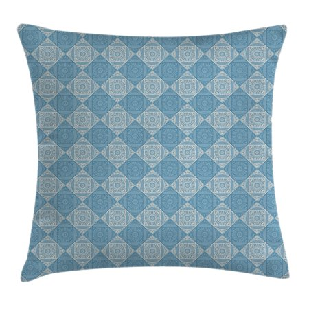 Geometric Decor Throw Pillow Cushion Cover, Ethnic Egyptian Motif with Symmetric Forms Arabesque Ancient Artwork, Decorative Square Accent Pillow Case, 16 X 16 Inches, Teal Light Yellow, by Ambesonne](Geometric Form)