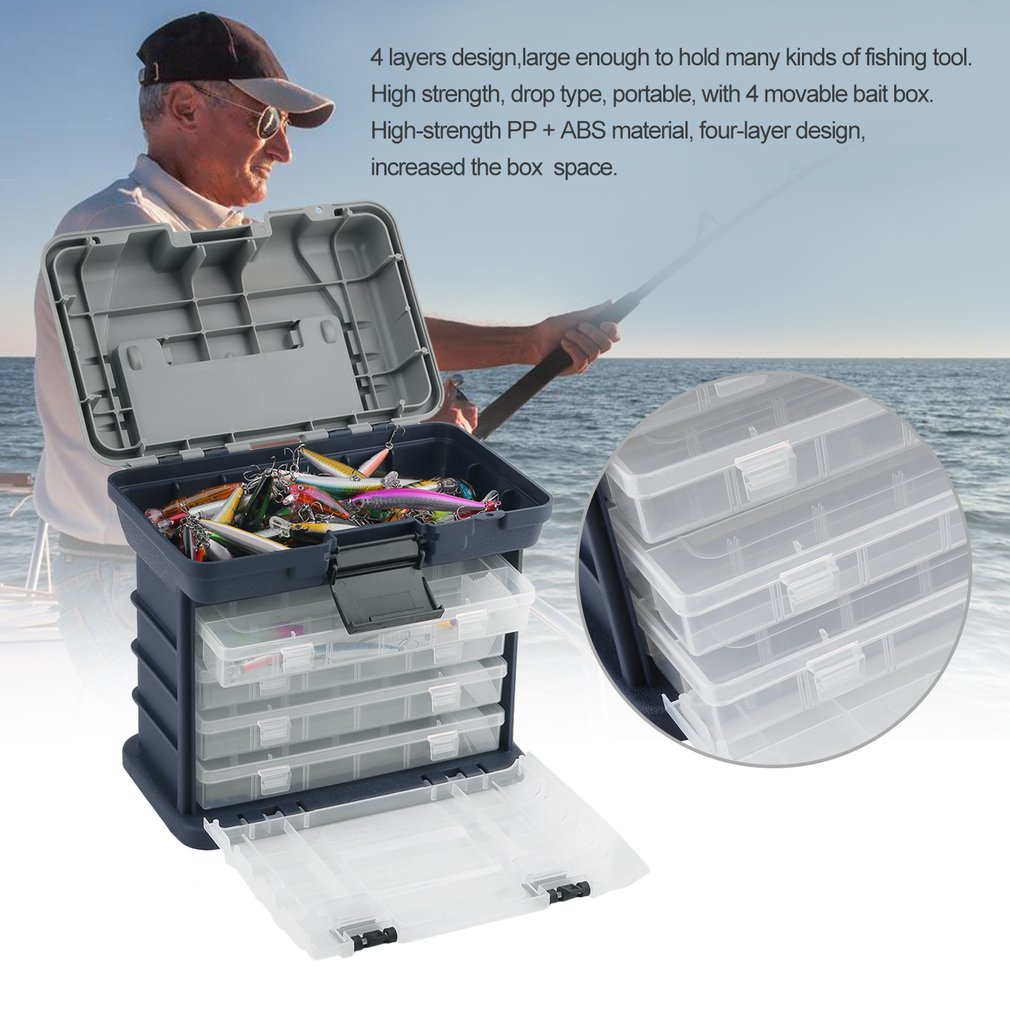 4 Layers Portable Fishing Tackle Box Bait Case Tool Organizer Lures Storage