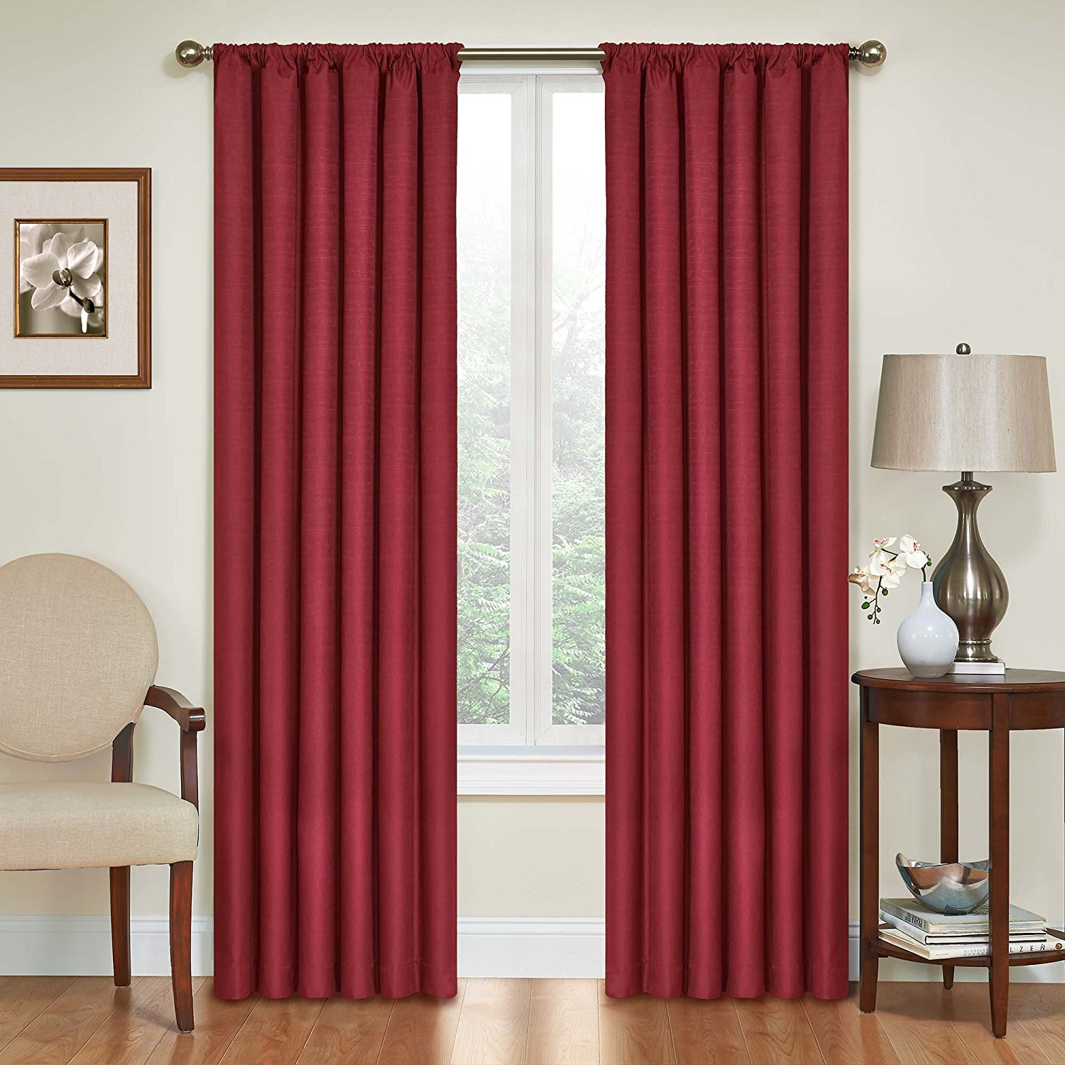 Eclipse 10707042X063RBY Kendall 42-Inch by 63-Inch Thermaback Blackout Single Panel, Ruby By Eclipse Curtains Ship from US