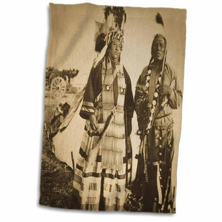 3dRose Vintage Blackfeet Indians Mr and Mrs Left Hand - Towel, 15 by