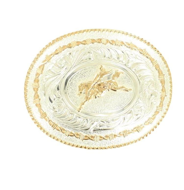 Crumrine Western Belt Buckle Oval Bareback Rider Silver Gold C1037301