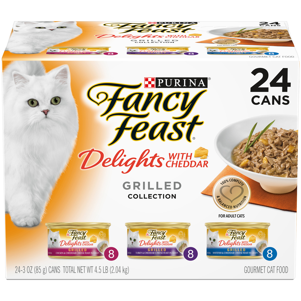 Purina Fancy Feast Delights With Cheddar Grilled Collection Wet Cat Food Variety Pack - (24) 3 oz. Cans