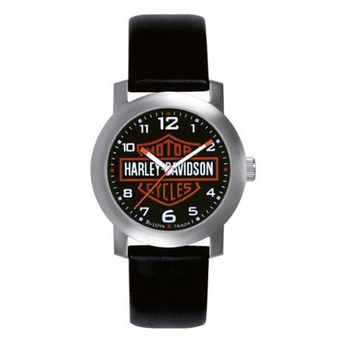 BULOVA Harley-Davidson Men's Bar & Shield Leather Wrist W...